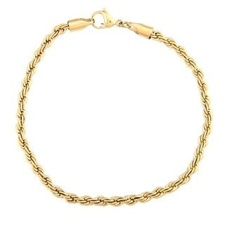 Stainless Steel and Gold IP Mens Rope Bracelet