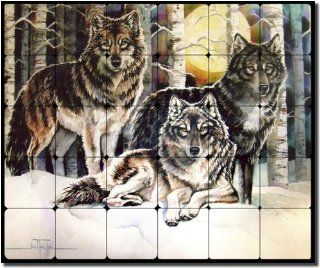 3 Wolves by Jan Taylor   Wolf Animal Tumbled Marble Mural