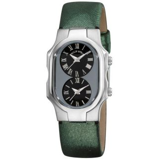 Philip Stein Womens Signature Green Strap Dual Time Watch