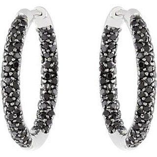 Sterling Silver Round Spinel Hoop Earrings GEMaffair