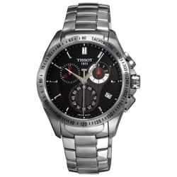 Tissot Mens Veloci T Stainless Steel Black Face Chronograph Watch