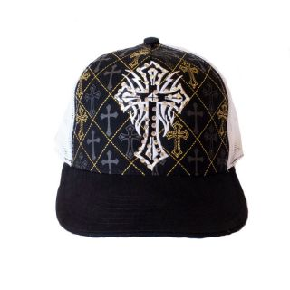 Womens Black and White Rhinestone Cross Trucker Hat Today $18.99