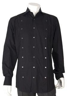 Dolce & Gabbana Mens Burgundy Striped Dress Shirt