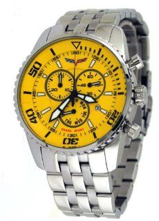 Corvette #CR215 9 Mens Stainless Steel Swiss Chronograph Yellow Dial