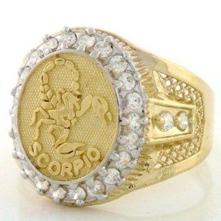 10K Solid Yellow Gold Mens Zodiac CZ Ring   Scorpio