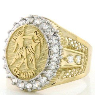 10K Solid Yellow Gold Mens Zodiac CZ Ring   Gemini