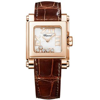 Chopard Womens Happy Sport Square Rose Gold Diamond Watch