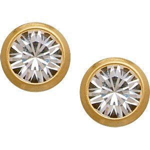 18K Gold Plated 4mm CZ Titanium Stud Earrings Jewelry