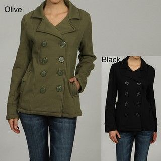 Big Chill Womens Notched Collar Welt Pocket Button up Fleece Peacoat