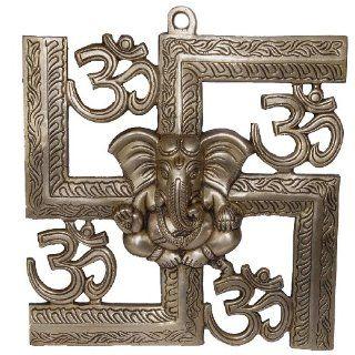Hindu God Ganesha Swastika Om Symbol Brass Sculpture Wall