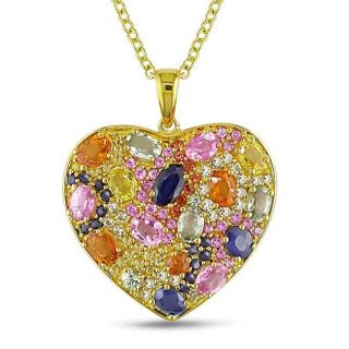 Yellow Silver Multi colored Sapphire Heart Necklace