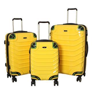 Innovator 3 piece Lightweight Hardside Yellow Spinner Luggage Set with