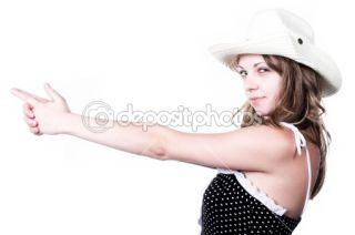 Girl in stetson with gun shooted  Stock Photo © Denis Babenko