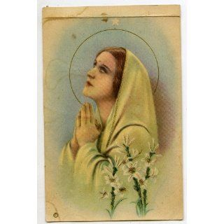 Antique Religious Print   Virgin Mary Praying (1934