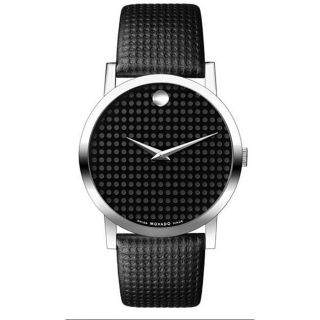 Movado Museum Mens Steel Leather Strap Watch