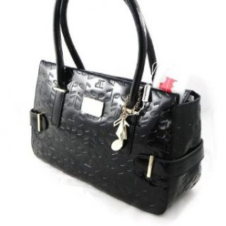 Leather bag Jacques Esterel music notes black lacquer