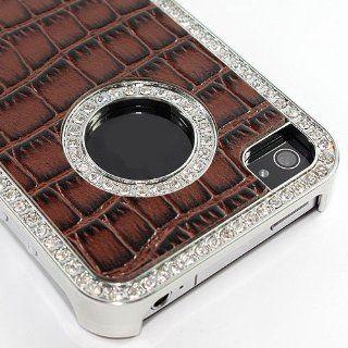 Crocodile Leather Czech Rhinestone Crystal Hard Case Cover