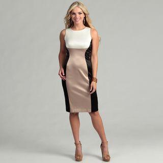 Gabby Skye Womens Cream/ Black Colorblock Dress