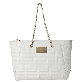 Versace Quilted White Leather Tote Bag