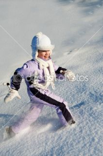 Funny little girl running in the snow  Stock Photo © Andrejs Pidjass