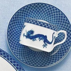 Mottahedeh Blue Dragon Tea Cup and Saucer (Set of 4