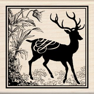 Inkadinkado Deer Print Mounted Rubber Stamp