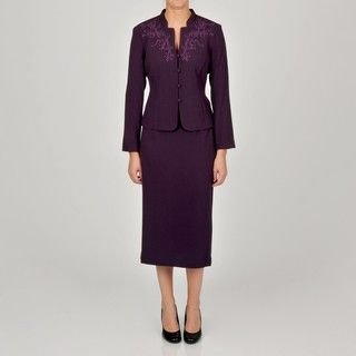 Danny & Nicole Womens Purple Embroidered Skirt and Jacket Set