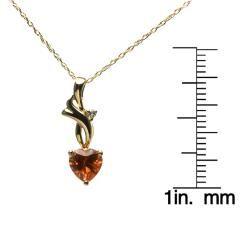 10k Yellow Gold Created Orange Sapphire Heart Necklace