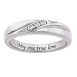 Sterling Silver Diamond Accent My one true love Engraved Band
