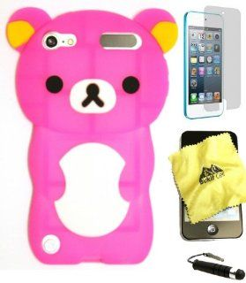 BUKIT CELL (TM) HOT PINK Bear 3D Cartoon Soft Silicone