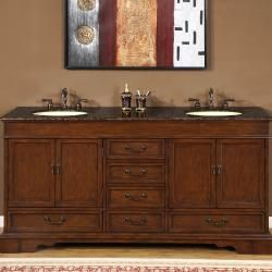 Silkroad Exclusive Natural Stone Top Sink Cabinet 72 inch Bathroom