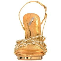 Celeste Womens Joyce 01 Gold Rhinestone Slingbacks