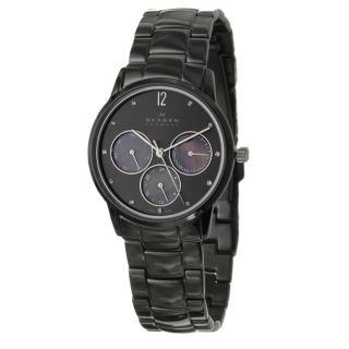 Skagen Womens Sport Stainless Steel Black Ion Plated Crystals Watch