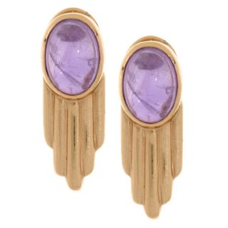 14k Yellow Gold and Amethyst 1980s Earrings