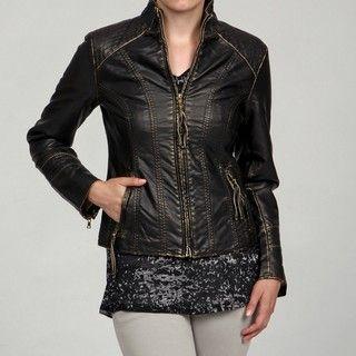 Big Chill Womens Gold Black Stitch Detail Jacket