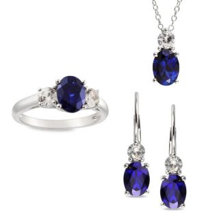 Sterling Silver Created Sapphire Necklace, Earrings and Ring Set