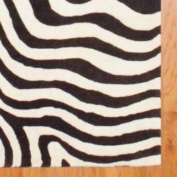 Indo Hand tufted Zebra print Brown/ Ivory Wool Rug (5 x 8