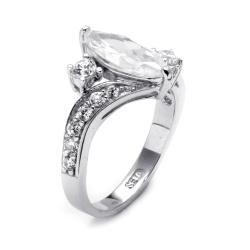 Ultimate CZ Sterling Silver Marquise and Round Cubic Zirconia Ring