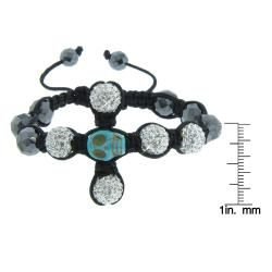 Hematite and White Czech Crystal Macrame Skull Cross Bracelet