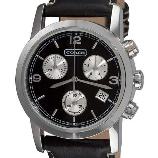 Coach Mens Bleecker Black Leather Chronograph Watch