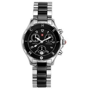 Michele Tahitian Black Ceramic and Stainless Steel Chronograph Watch