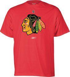 Chicago Blackhawks Primary Logo RED T Shirt by Reebok