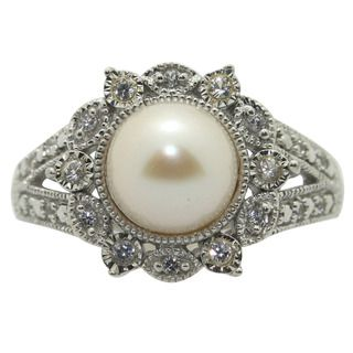 Sterling Silver White FW Pearl and Created White Sapphire Ring (8 mm