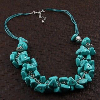 Nickel plated and Turquoise colored Wood Chips Necklace (India