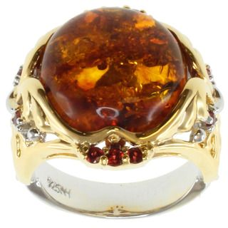 Michael Valitutti Two Tone Baltic Amber and Orange Sapphire Ring