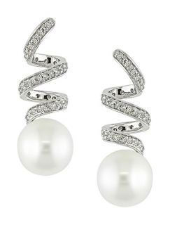 14k White Gold FW Round Pearl Spiral Earrings