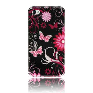 Luxmo Pink Butterfly Snap on Protector Case for iPhone 4 / 4S