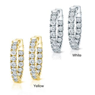 14k Gold 3ct TDW Diamond Hoop Earrings (H I, SI1 SI2)