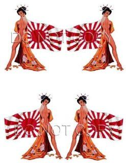 Japanese Flag Pin Up Decal #256 Musical Instruments