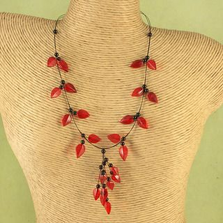 Handcrafted Ruby Red Baltic Amber Leaves Wire Necklace (Lithuania